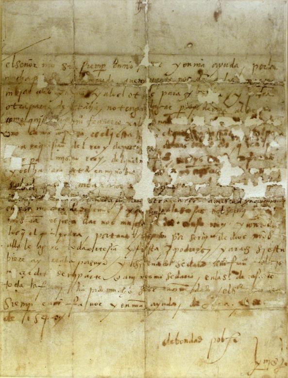 Carta autógrafa de San Ignacio de Loyola a su hermano Beltrán