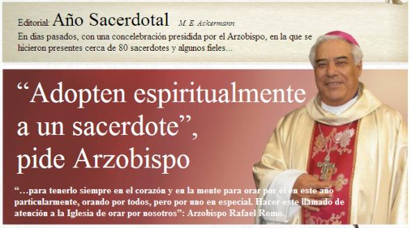 Recordó que el Santo Padre Benedicto XVI nombró al Año Sacerdotal por los 150 años de fallecido del Santo Cura de Ars, San Juan María Vianney, patrono de los sacerdotes, en especial por los párrocos.
