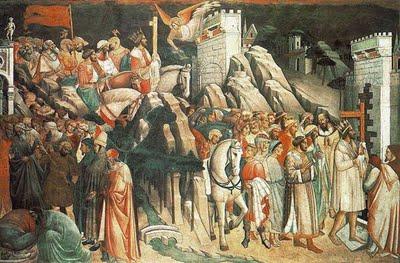 Agnolo Gaddi: Decapitación de Cosroes y entrada de Heraclio con la Vera Cruz en Jerusalén
