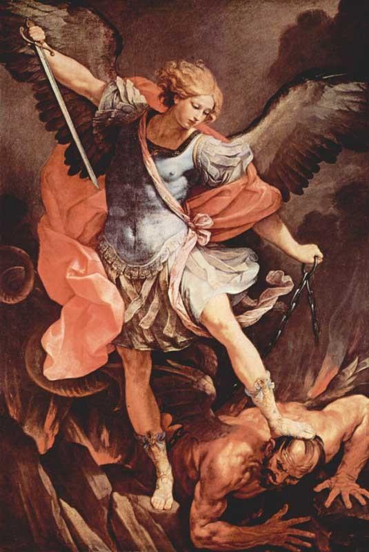 Él arroja al fondo del abismo la cabeza orgullosa del Dragón, y confunde a los rebeldes con su caudillo, expulsándolos del cielo (Salmos, 36, 30-31)