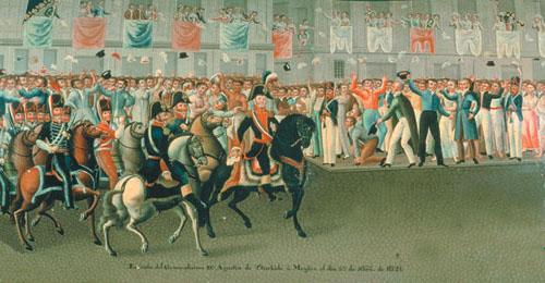 Iturbide y su ejército pasando por un costado del Palacio Virreinal el 27 de septiembre de 1821 y a punto de llegar a las puertas del palacio, en donde fue recibido por Juan O'Donojú.  Desde allí observó el paso de los 16,000 hombres que formaban el gran Ejército Trigarante.