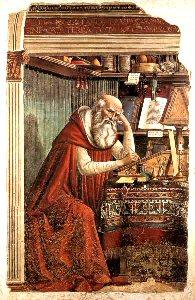 Uno de los cuatro Doctores originales de la Iglesia Latina. Padre de las ciencias bíblicas y traductor de la Biblia al latín. Presbítero, hombre de vida ascética, eminente literato. (347-420)