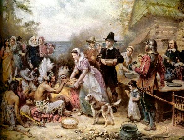 El primer Día de acción de gracias, pintado por Jean Leon Gerome Ferris (1863–1930).