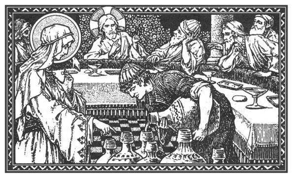 Jesús cambia el agua en vino en las bodas de Caná.