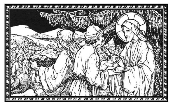 Tomó Jesús los panes, y los repartió entre los que estaban sentados.