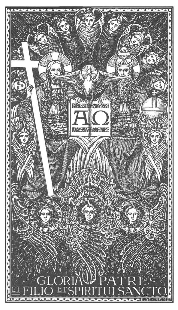 La Santísima Trinidad apoyada sobre los Tronos.