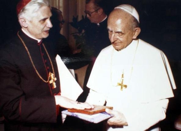 Pablo VI y el entonces Cardenal de Munich, Joseph Ratzinger