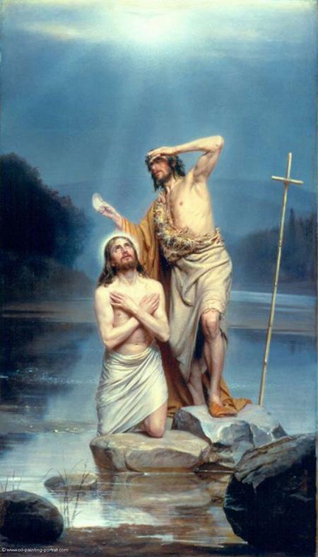 En el Bautismo de Jesús, el Padre con el Espíritu Santo da testimonio de su divinidad.