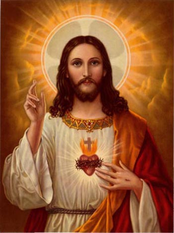 A majestic Jesus with the halo of divinity and a well-defined Sacred Heart gives a clear blessing;