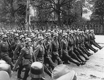 Nazi soldiers invaded Poland after Sr. Faustina announced a blessed world - above, they are marching on Warsaw