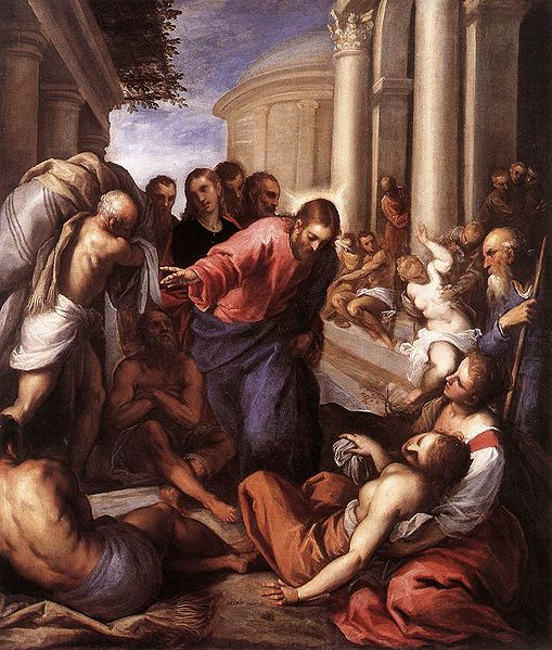 CRISTO CURANDO AL PARALÍTICO DE BETESDA, PALMA IL GIOVANE