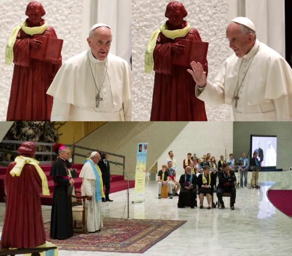"""Que contento se pondría Lutero si pudiera ver una estatua de su persona, casi 500 años después de su Apostasía, expuesta dentro del Vaticano al lado de un """"Papa"""", como si con este hecho éste estuviera aprobando todas sus herejías."""
